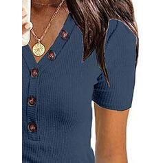 Jednolity Dekolt w kształcie litery V Krótkie rękawy Zapięcie na guzik Casual T-shirty