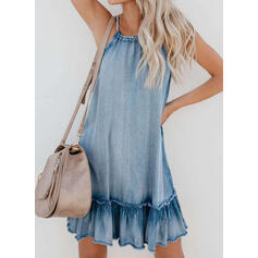 Solid Sleeveless Shift Above Knee Casual/Vacation/Denim Slip Dresses
