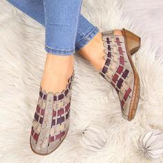 Donna PU Tacco spesso Stivali alla caviglia con Cava-out scarpe