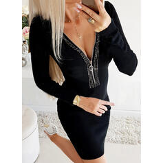 Lace/Sequins/Solid Long Sleeves Bodycon Above Knee Little Black/Sexy/Party Dresses