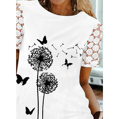 Animal Print Lace Round Neck Short Sleeves Casual Blouses