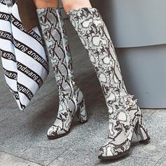 Women's PU Chunky Heel Knee High Boots With Buckle Animal Print Zipper shoes