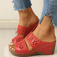 Frauen PU Keil Absatz Sandalen Keile Peep Toe Pantoffel Heels mit Hohl-out Schuhe