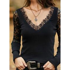 Einfarbig Spitze V-Ausschnitt Lange Ärmel Elegant Blusen