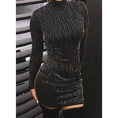 Sequins/Solid Long Sleeves Bodycon Above Knee Little Black/Casual Dresses