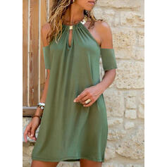 Solid Short Sleeves Shift Above Knee Little Black/Casual/Vacation Dresses