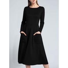 Couleur Unie Manches Longues Trapèze Longueur Genou Vintage/Petites Robes Noires Robes