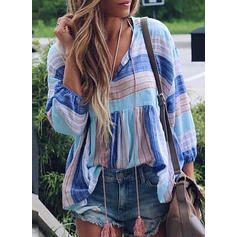 Striped V-neck Long Sleeves Casual Blouses