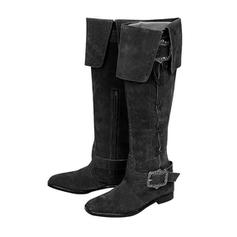 Women's Leatherette Low Heel Knee High Boots With Buckle Zipper Chain shoes