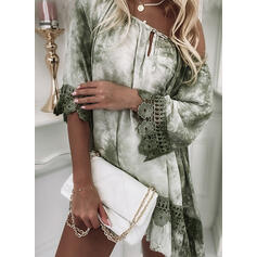 Lace/Tie Dye/Hollow-out 3/4 Sleeves/Flare Sleeves Shift Above Knee Elegant Dresses