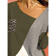 Colorblock Állatminta V-nyak Hosszú ujjú Hétköznapokra robić na drutach Μπλουζάκια