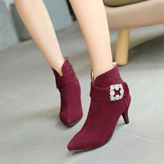 Femmes Suède Talon stiletto Escarpins Bottines avec Strass chaussures