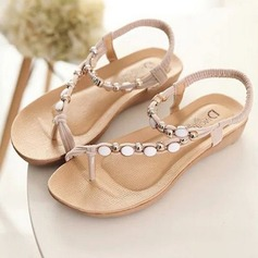 Women's Leatherette Wedge Heel Sandals Flats Peep Toe Slingbacks With Beading Elastic Band shoes