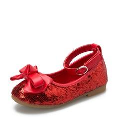 Fille de en tissu talon plat Bout fermé Chaussures plates Chaussures de fille de fleur avec Bowknot Paillette Velcro