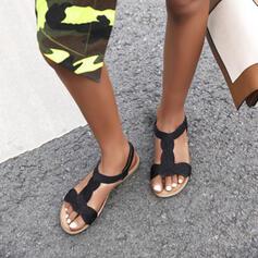 Women's Microfiber Leather Flat Heel Sandals Flats shoes