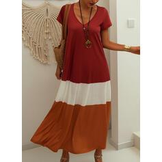 Color Block Short Sleeves Shift T-shirt Casual Maxi Dresses