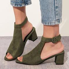 Frauen Veloursleder Stämmiger Absatz Sandalen Peep Toe mit Schnalle Schuhe