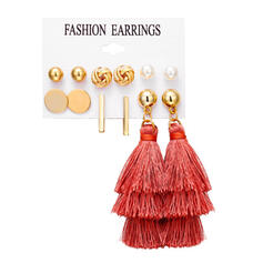 Stylish Alloy With Tassels Jewelry Sets Earrings (Set of 6 pairs)