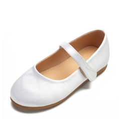Girl's Satin Flat Heel Round Toe Closed Toe Flats Flower Girl Shoes With Velcro