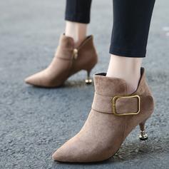 Femmes Suède Talon stiletto Bottines avec Boucle Zip chaussures