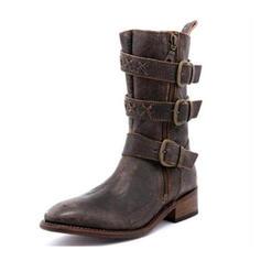 Femmes PU Talon bas Bottes avec Boucle Zip chaussures