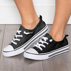 Frauen PU Flascher Absatz Flache Schuhe Low Top mit Zuschnüren Einfarbig Schuhe