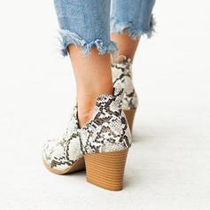 Γυναίκες PU Χοντρό φτέρνα Γοβάκια Μπότες Με Αποτύπωμα ζώου Φερμουάρ παπούτσια