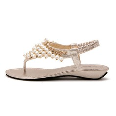 Donna Similpelle Zeppe Sandalo con Perla imitazione scarpe