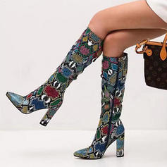 Women's Leatherette Chunky Heel Knee High Boots With Animal Print Zipper shoes