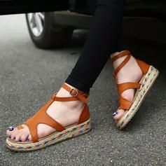 Femmes PU Talon plat Sandales Chaussures plates À bout ouvert avec Boucle chaussures