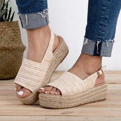 Frauen Stoff Flascher Absatz Sandalen Flache Schuhe mit Schnalle Schuhe