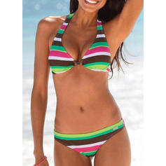 Stripe Low Waist Halter Sexy Sports Bikinis Swimsuits