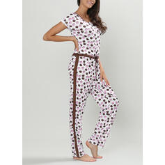 Round Neck Short Sleeves Print Casual Top & Pants Sets
