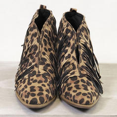 Women's PU Chunky Heel Ankle Boots With Animal Print Tassel shoes
