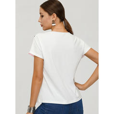 Color Block Round Neck Short Sleeves Casual Elegant Blouses