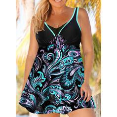 Colorido Estampado Cinta Decote em V Tamanho positivo Casual Vestidos de banho Maiôs