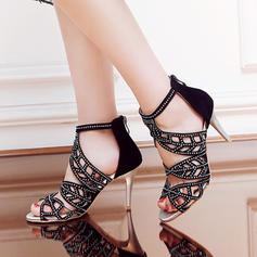 Femmes PU Talon stiletto Sandales Escarpins avec Strass chaussures