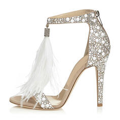 Women's PU Stiletto Heel Sandals Peep Toe With Rhinestone Zipper shoes