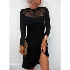 Sólido Encaje Manga Larga Vestidos sueltos Sobre la Rodilla Pequeños Negros/Elegante Vestidos