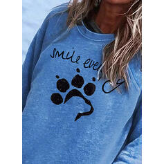 Motif Animal Figure Col rond Manches longues Sweat-shirts