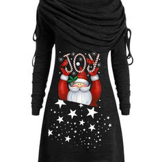 Print Long Sleeves Shift Knee Length Christmas/Casual Dresses