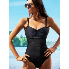 Solid Color Strap V-Neck Sexy One-piece Swimsuits