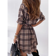 Plaid Long Sleeves Shift Above Knee Casual Shirt Dresses