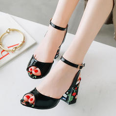 Women's PU Chunky Heel Sandals Pumps Slingbacks With Buckle shoes
