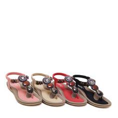 Női Műbőr Lapos sarok Szandál Lakások Flip-flop -Val Hegyikristály gyüngyfüzér cipő