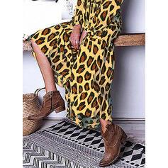 Leopardo Manga Larga Tendencia Túnica Casual/Vacaciones Midi Vestidos