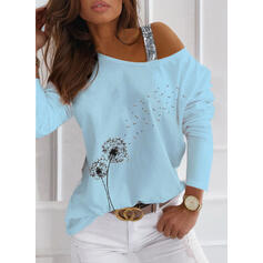 Print Sequins Dandelion One-Shoulder Long Sleeves Casual Blouses