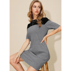Color Block Round Neck Casual Sweater Dress