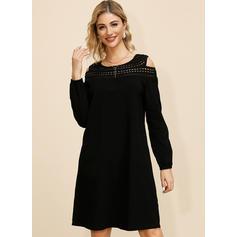 Solid Long Sleeves/Cold Shoulder Sleeve Shift Knee Length Little Black/Casual/Elegant Dresses
