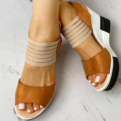 Frauen PU Keil Absatz Sandalen Keile Peep Toe Heels mit Schnalle Schuhe